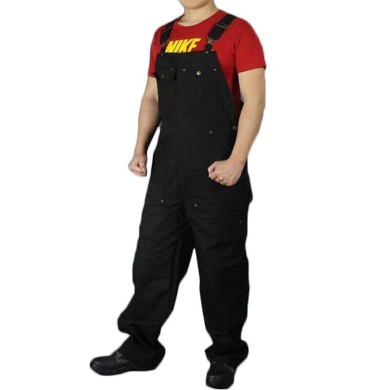 Bib overalls men black work coveralls locomotive repairman strap jumpsuit pants work uniform sleeveless overalls big