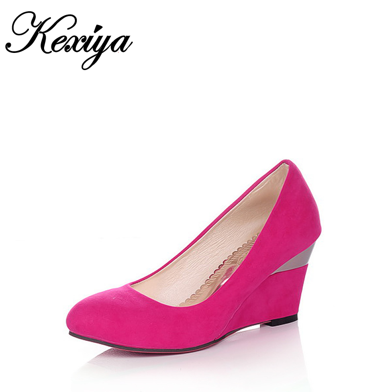 7 Color spring/Autumn suede women Pumps fashion Round Toe Slip-On ladies red wedding shoes big size 34-43 Wedges high heels 1-3 meotina women wedding shoes 2018 spring high heels wedges pumps silver pointed toe slip on shoes big size 9 42 43 ladies shoes
