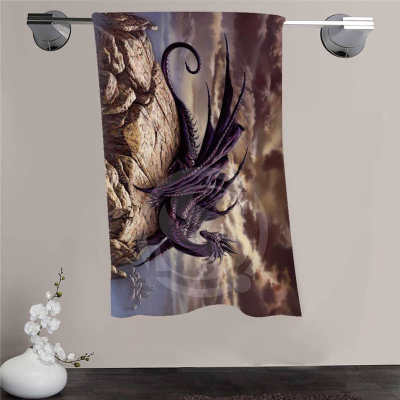New Custom Dragon Shower Towel Big Size 140x70cm Cotton Bath Towel For your family FQI905 %qo57