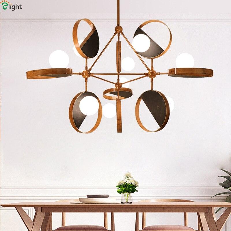Modern Novelty Wood Color Led Chandelier Lighting Living Room Metal Led Pendant Chandelier Lights Dining Room Glass Hanging Lamp