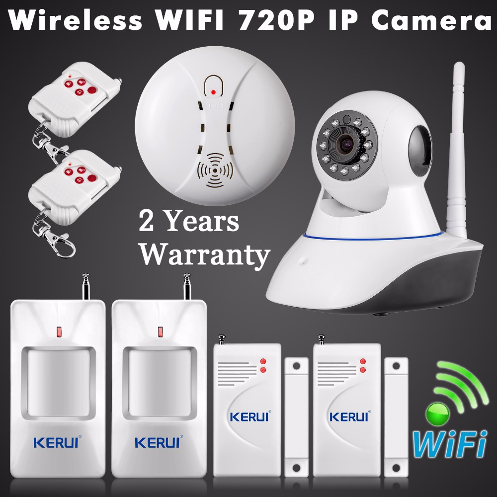 WiFi IP Camera ISO Android APP Remote Control Home Alarm System Security HD CCTV Night Vision with Wireless Smoke Detector wifi infrared sensor cctv camera 1280 720hd night vision app control 1280 720hd home linkage alarm function security home