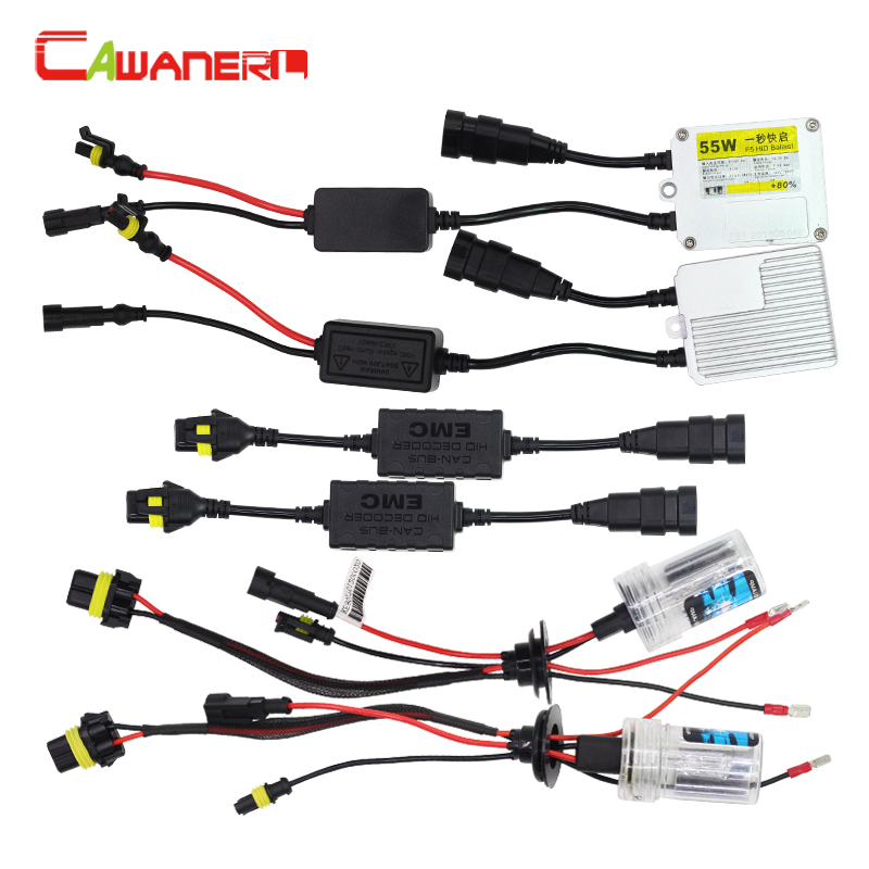 Cawanerl H3 55W Canbus HID Xenon Kit AC Ballast Bulb Decoder Harness Anti Flicker Warning Canceller 3000K-12000K Car Headlight c3 5 can bus hid warning canceller capacitor decoder black 2 piece