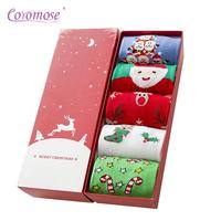 Coromose Girl 5 Pairs Lot Christmas Socks Cotton Winter Autumn Warm Cotton Long Cute Soft Xmas