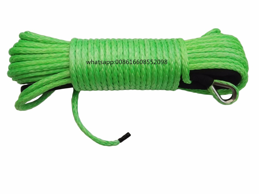 Free Shipping Green 6mm*24m ATV Winch Line, Synthetic Winch Rope,UHMWPE Rope