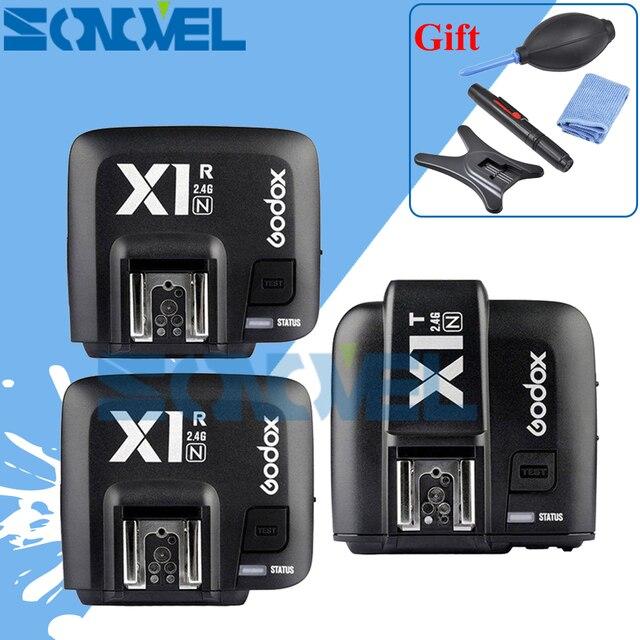 Godox X1N TTL 2.4 G Wireless Flash Transmitter + 2 x Receiver Kit For Nikon D7500 D7200 D3300 D810a D800 D750 D500 D4 D5 TT350N