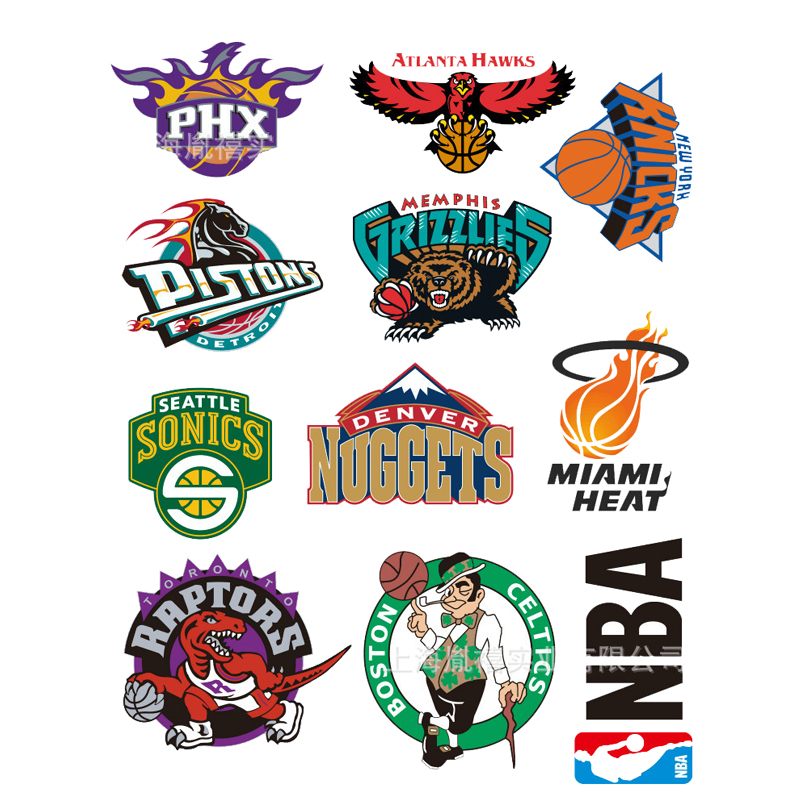2018 2pcs sheet a4 size hot sale nba team logo stickers personalized graffiti decoration stickers waterproof pvc stickers in stickers from toys hobbies on