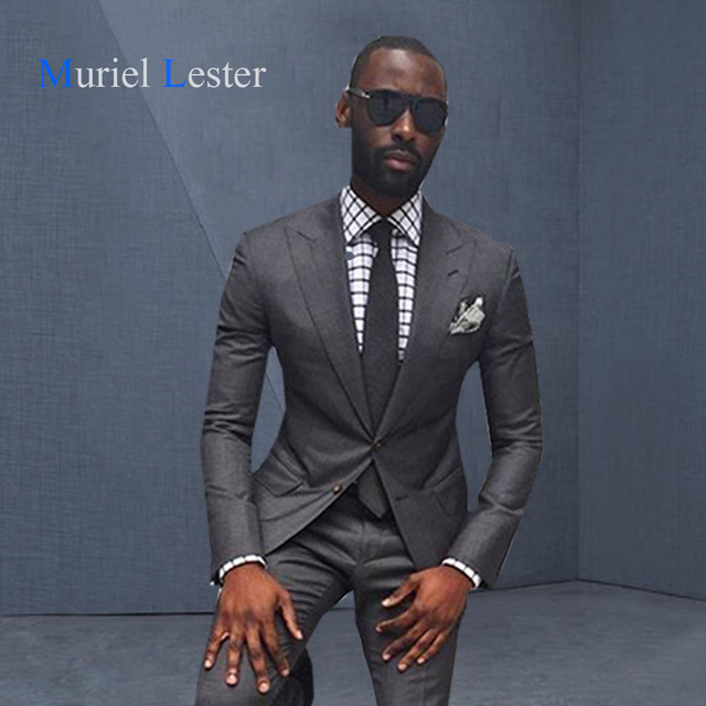 Ml 247 2018 Latest Coat Pant Designs Grey Black Men Wedding Suit Slim Fit