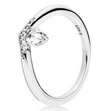 6581c4ebb566 Auténtica Plata de Ley 925 anillo clásico deseo anillos de cristal para las  mujeres regalo de fiesta de boda bien la joyería de .