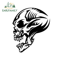 EARLFAMILY 30cm x 27cm Car Styling Tribal Skull Decal Profile Car Door Fender Vinyl Graphic Waterproof Car Sticker Black/Silver(China)
