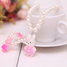 White Imitation Pearl Beads Bear Rabbit Necklace Ring Bracelets For Kids Girls
