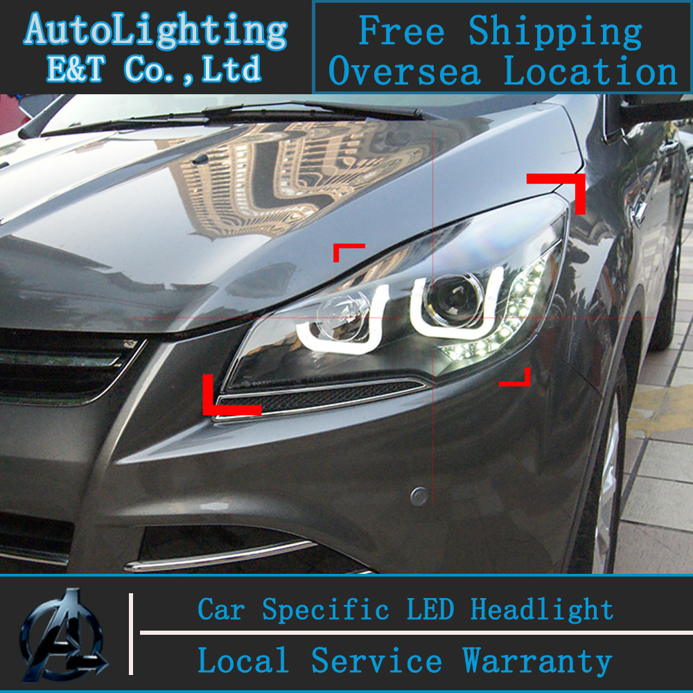 Car styling LED Head Lamp for Ford Kuga led headlight assembly 2014 Taiwan Escape angel eye drl H7 with hid kit 2pcs. car styling head lamp for bmw e84 x1 led headlight assembly 2009 2014 e84 led drl h7 with hid kit 2 pcs
