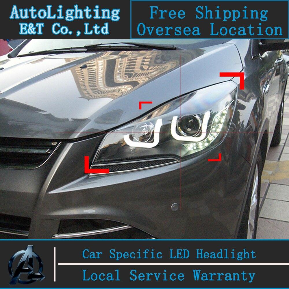 Car styling led head lamp for ford kuga led headlights 2014 taiwan escape angel eye drl