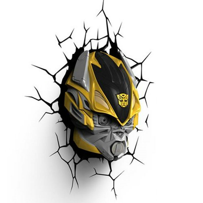 Artpad Battery Powered Transformers Optimus Prime Bumblebee Childern Wall Lamp Decorative 3D Wall Sticker Light