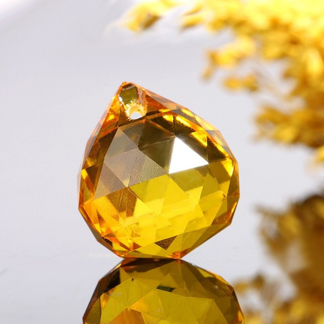 wholesale 10pcs 20mm gold yellow Faceted Glass ball Crystal ...