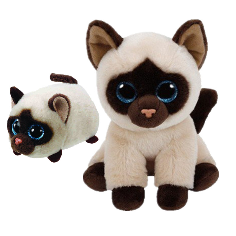 71926fd4b71 TY Beanie Boos Teeny Tys Stackable KIMI The Siamese Cat Big Glitter Eye  Collection Plush Stuffed Toys Christmas Gift