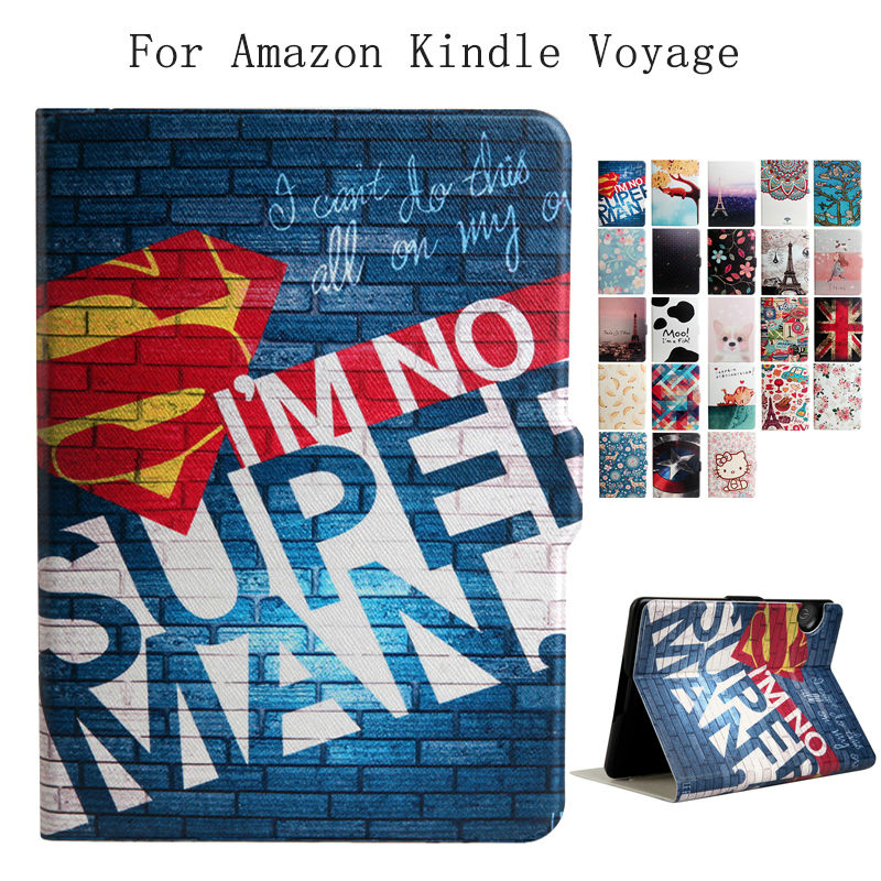 все цены на  For Amazon Kindle Voyage E-reader PU Leather 6'' E-Book Ebook Stand Case Cover Slim Print Smart Fundas for Amazon Kindle Voyage  онлайн