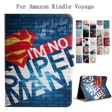 "For Amazon Kindle Voyage E-reader PU Leather 6"" E-Book Ebook Stand Case Cover Slim Print Smart Fundas for Amazon Kindle Voyage"