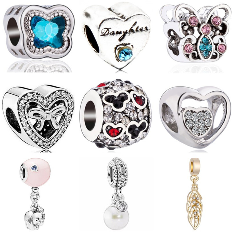 Mickey Beads Jewelry Charms Feather-Wing Crystal Simulated-Pearl-Heart Fit Pandora Elephant