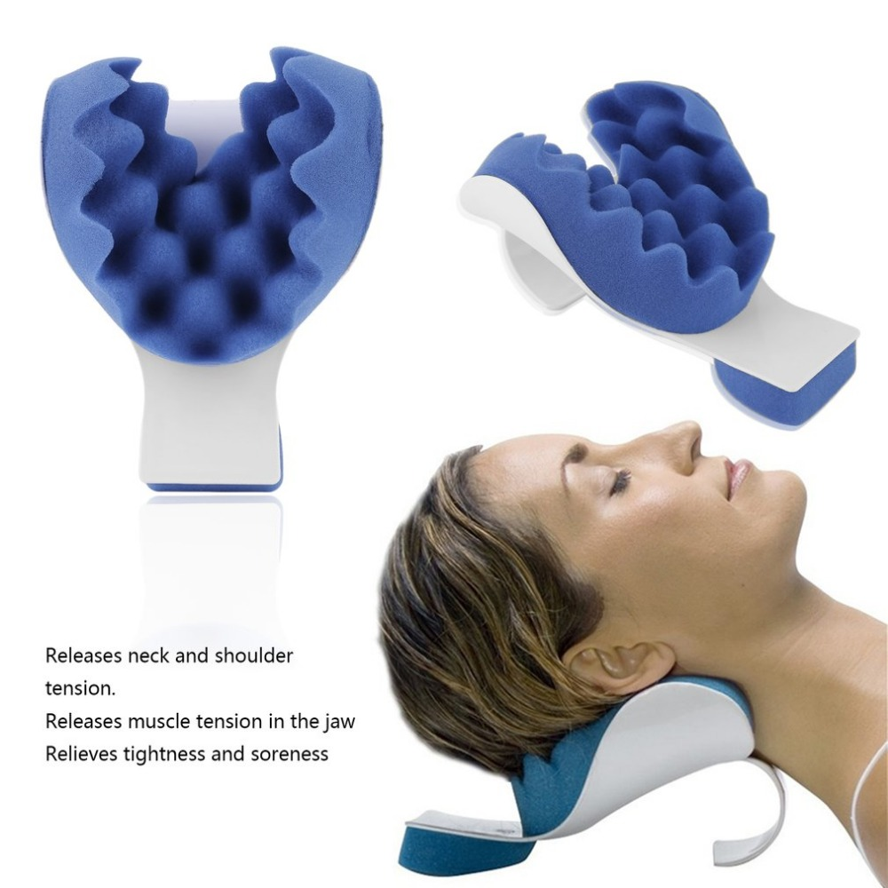 Neck Support Tension Reliever Neck Shoulder Relaxer Blue Sponge Releases Muscle Tension Relieves Tightness Soreness Theraputic