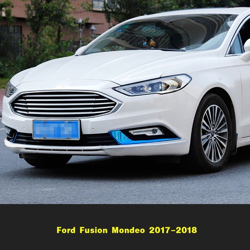 Exterior Front Fog Light Lamp Strip Trim For Ford Fusion Mondeo 2017-2018