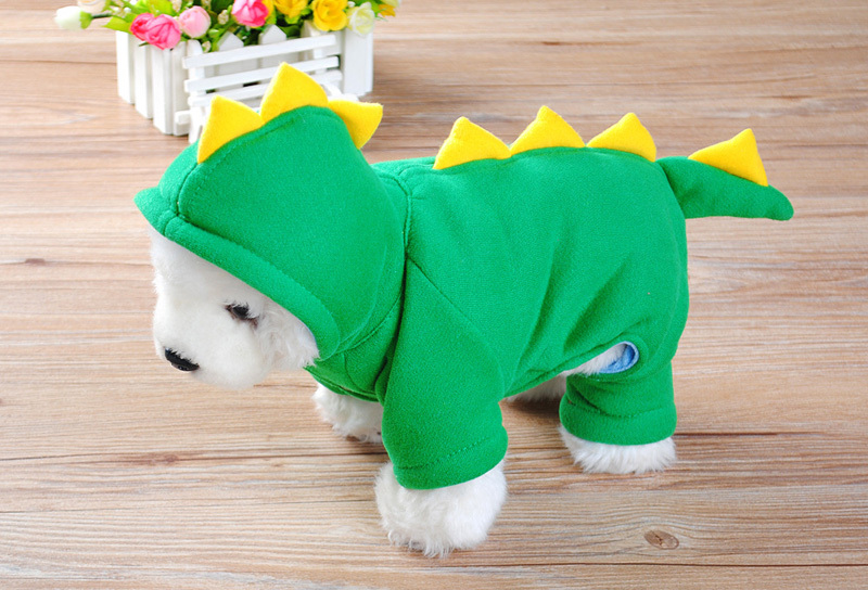 Cool Green Dinosaurs Cotton Pet Puppy Dog Animal Winter Warm Clothes Soft Doggy Hoodie Outwears Coat Jumpsuit apparel CW-80050