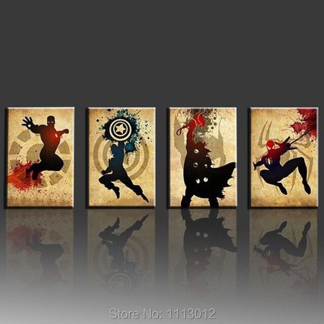 Les Avengers! Iron man, Thor Captain America, Spiderman! Peinture à l'huile abstraite moderne faite à la main Marvel Comics Art de toile de super-héros