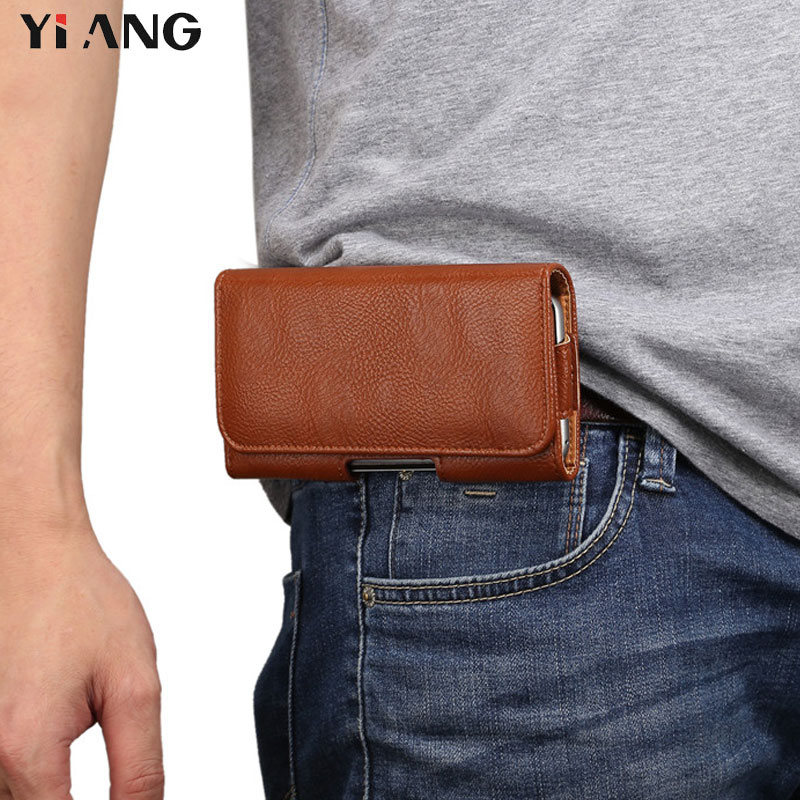 YIANG New Waist Packs For Men Fashion PU Leather Litchi Grain Belt Pouch 4.7~5.7 Inch Mobile Phone Bags Belt Clip Case Waist Bag