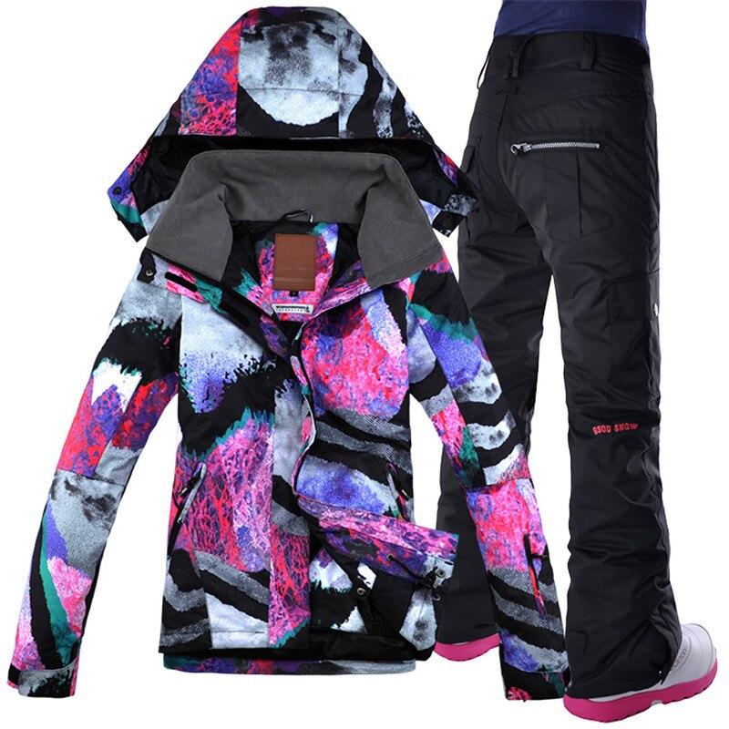 Gsou combinaison de Ski de neige, costume extérieur, veste de neige femme Double pont Snowboard + pantalon vêtements chauds livraison gratuite imperméable