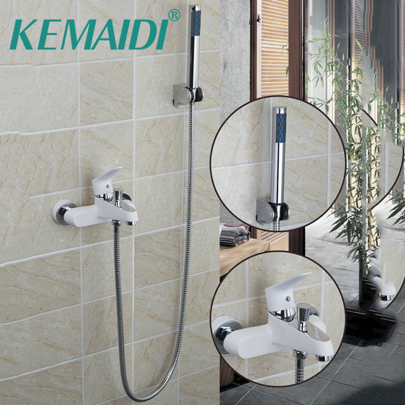 KEMAIDI White Painting Bathroom Wall Mounted Shower Spray With Plastic Handle Shower Solid Brass Mixer Bathtub Faucet Shower SetKEMAIDI White Painting Bathroom Wall Mounted Shower Spray With Plastic Handle Shower Solid Brass Mixer Bathtub Faucet Shower Set