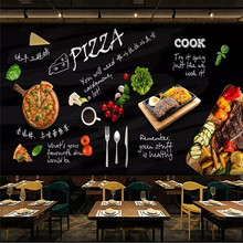 Custom wallpaper black hand-painted Italian pizza shop Western restaurant background wall high-grade cloth