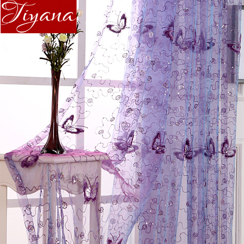 French Romantic Shining Butterfly Embroidered Voile Curtains Panel Window Home Textile Bedroom Curtains Tulle Cortinas T&344 #20(China)