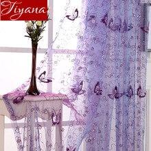 Французские романтические Блестящие бабочки вышитые вуаль занавески панели окна домашний текстиль тюли и занавески для спальни Cortinas T& 344#20