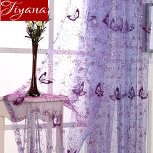 French Romantic Shining Butterfly Embroidered Voile Curtains Panel Window Home Textile Bedroom Curtains Tulle Cortinas T amp 344 20 cheap Translucidus (Shading Rate 1 -40 ) home decoration Rope Animal Hotel Cafe Home Ceiling Installation Left and Right Biparting Open