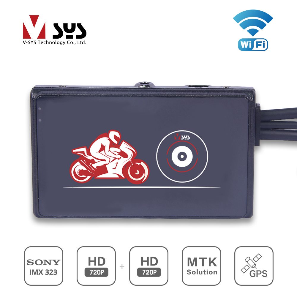 2018 VSYS SYS newest motorcycle DVR M1HL WIFI dual 720P HD lens for front and rear цена