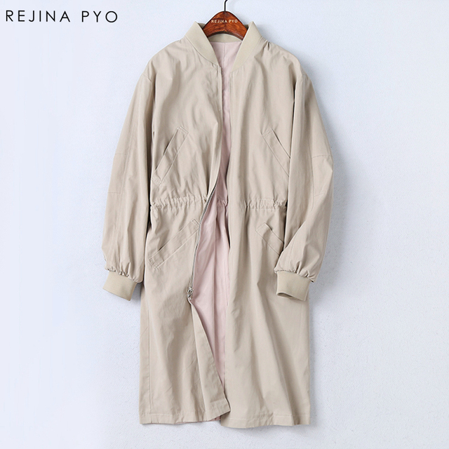 Rejina Pyo Handmade Women Casual Cotton Trench Coat Autumn Embroidery Printed Pockets Double-side Blends Wear Solid Trench