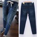 Calças de Brim das mulheres de Cintura Alta Harem Pants Casuais Solta Buraco Rasgado Calças Jeans Calças Lápis Elásticas Jeans Skinny Plus Size LQ129