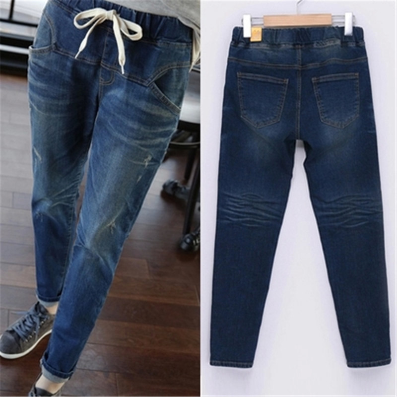 Women's Jeans High Waist Harem Pants Casual Loose Elastic Pencil Hole Torn Trousers Denim Pants Skinny Jeans Plus Size LQ129