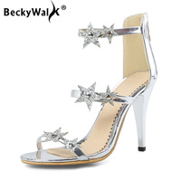 BeckyWalk Elegant Women High Heels Sandals New Fashion Sequins Star Summer Party Shoes Ladies Pumps Sexy Shoes Woman WSH2807