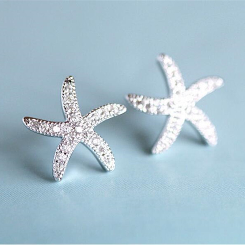 New Fashion Anti-allergic 925 Sterling Silver Jewelry  Micro-embedded Crystal Starfish Personality Exquisite Earrings   SE37