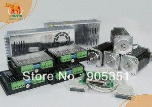 Image 1 - CNC a buon mercato! Wantai 4 Assi Nema 23 Motore Passo A Passo di WT57STH115 4204A, 428oz in + Driver DQ542MA 4.2A + Power Router di CNC Plasma Ricamo