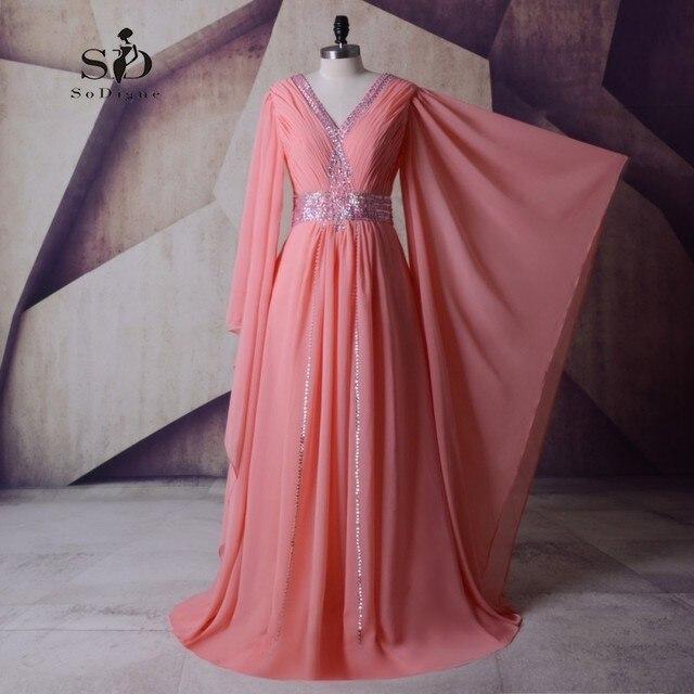 Formal Dresses 2018 Moroccan Dress Kaftan Crystals Women Formal Dresses  Plus Size Long Sleeve Evening Dresses Pleats Caftan Arab ee37ced699d6