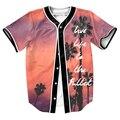 Жить Полной Жизнью Джерси ПАНК мужские рубашки 3d бейсбол рубашки майки топы с Однобортный летом стиль прохладно тройники