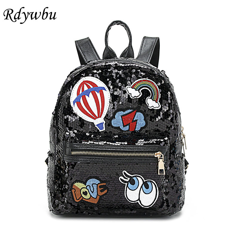Rdywbu Glitter Sequins Rivet Backpack Girls Fashion Travel Rucksack Students Cute Eyes Rainbow Patched School Bag Mochilas B484 high quality 5n m 42 42 119 7mm brushless dc motor with planetary gearbox reduction ratio 104 8