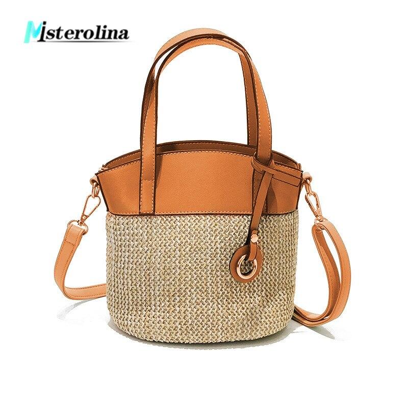 New braid womens bags Fashion vintage straw woven shoulder messenger bags leather zipper design summer shopping travel handbag