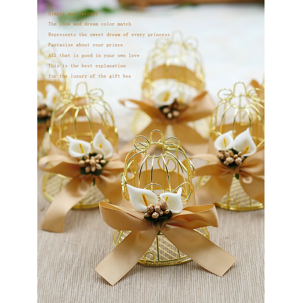30pcs Wedding Candy Box Tinplate Birdcage Bell Gift Bags With Handles Chocolate  Favor Boxes Packaging Gift Box Party Supplies