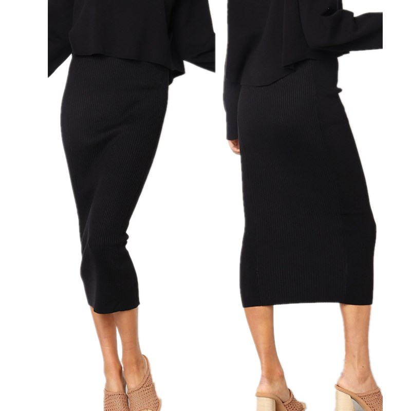 ef0bb497d8331 LOSSKY Knitted 2018 Autumn Bodycon Long Skirt Sexy Black White High ...