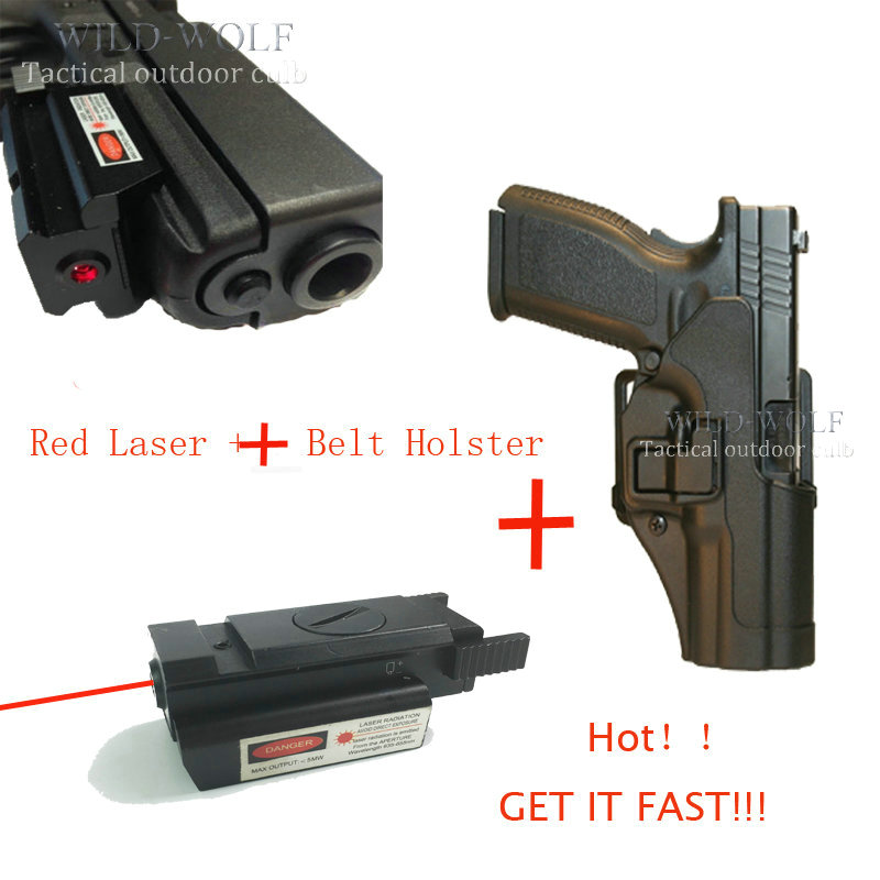 Energetic Cqc Tactical Gun Belt Holster With Mini Red Dot Laser Sight For Pistol Giock 17 18 19 With Bottom Front 20mm Rail