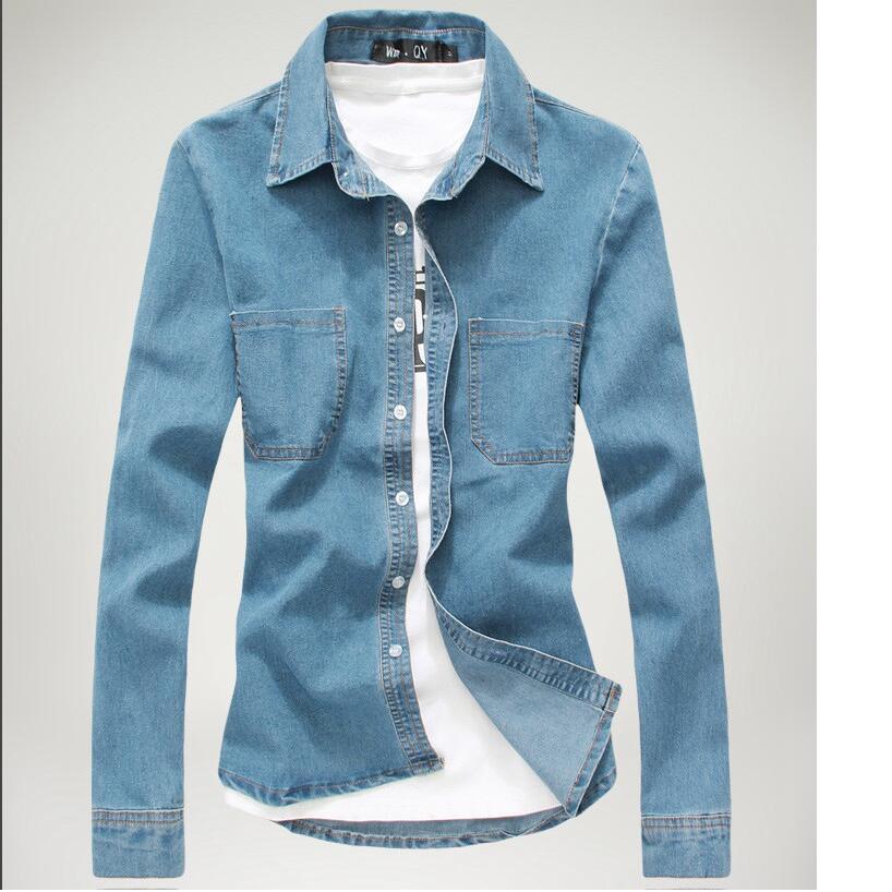 font b Men s b font cotton casual Long sleeve Slim denim shirts New spring