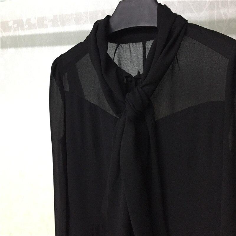 Femmes Col À Robe Arc 2018 Longues Noir De ligne Dame Manches Mode A D'été Élégant Cx5BxYw