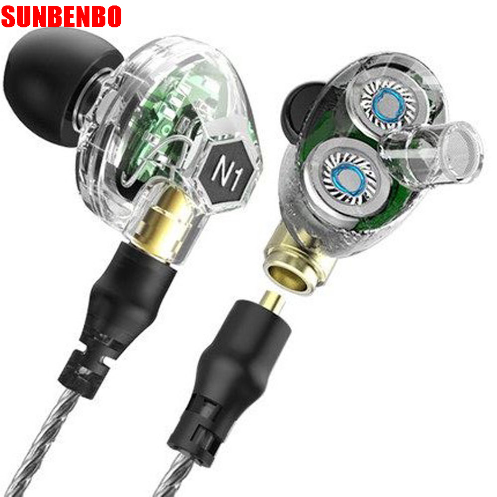 Hot VJJB N1 In Ear Earphone Double Dynamic Diy Hifi Bass Auriculares with Mic Cable + Audio Cable for Phone Tablet Computer original senfer dt2 ie800 dynamic with 2ba hybrid drive in ear earphone ceramic hifi earphone earbuds with mmcx interface